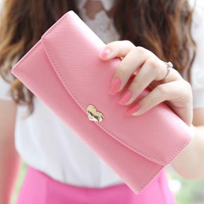 新款时尚女士钱包女长款日韩大钞夹爱心学生薄钱包皮夹子三折钱夹
