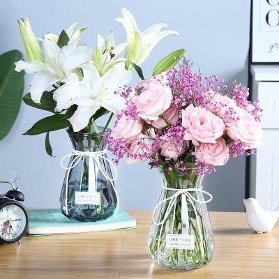 北欧创意玻璃花瓶透明彩色水培玫瑰百合花瓶摆件客厅插花