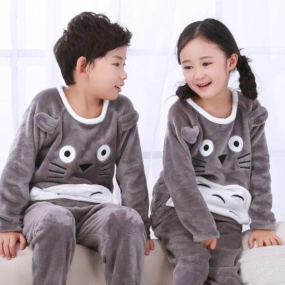 冬季儿童睡衣长袖珊瑚绒男女童装加厚法兰绒小孩可爱卡通家居服套