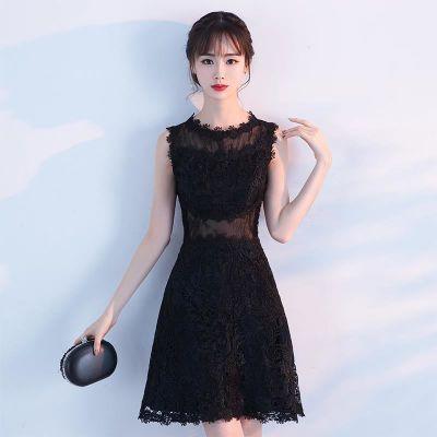 礼服裙黑色礼服裙女2018新款生日派对连衣裙聚会小礼服名媛夏季短