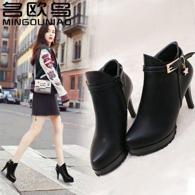 【名欧鸟】马丁靴新款秋冬季高跟鞋百搭细跟防水台短靴加绒女鞋
