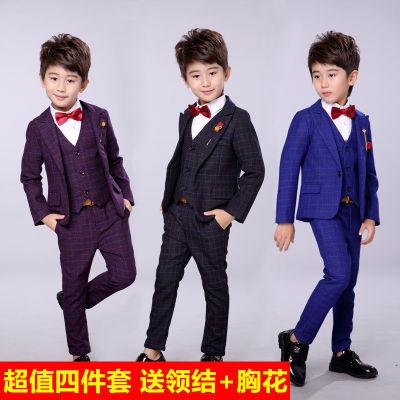 儿童西装套装男童西服春秋三件套2018新款韩版潮婚礼服花童小西装