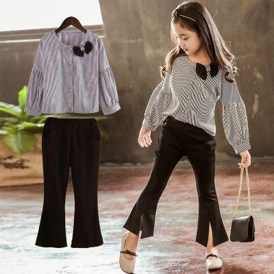 女童春秋装套装2018新款儿童长袖纯棉衬衫两件套小女孩喇叭裤套装