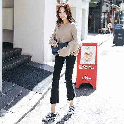黑色微喇叭牛仔裤女韩版新款修身显瘦铅笔裤百搭ins超火的裤子潮
