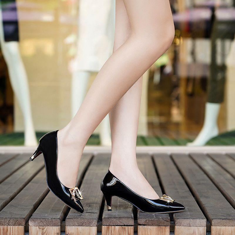 红蜻蜓女装中跟皮鞋_RD红蜻蜓秋漆皮工作鞋女高跟皮鞋职业女单鞋中跟工装正装面试 ...