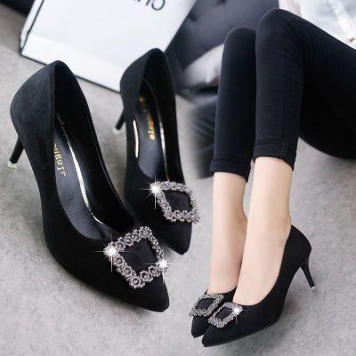 高跟鞋女2018春秋季新款尖头细跟中跟单鞋女水钻方扣黑色工作鞋