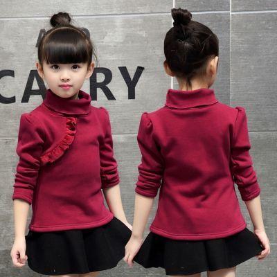 童装秋冬女童打底衫冬装韩版儿童加绒保暖上衣圆领中大童长袖t恤