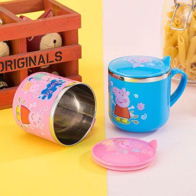 小猪佩奇儿童304不锈钢水杯带手柄盖幼儿园口杯随手杯防烫耐摔