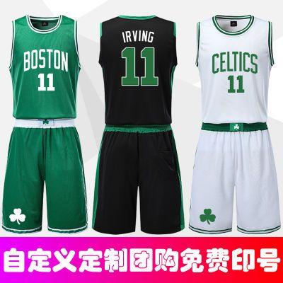 新款凯尔特人球衣篮球服套装男11号欧文团购定制大学生比赛训练服