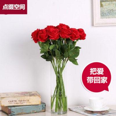 仿真玫瑰花假花装饰花婚庆玫瑰单支客厅餐桌家居装饰品摆件插花