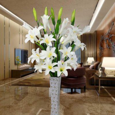 假花摆设香水百合花仿真花束客厅装饰花插花娟花PU干花百合花单支