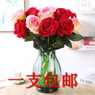 仿真玫瑰花假花装饰花婚庆玫瑰单支客厅餐桌家居装饰品摆件插