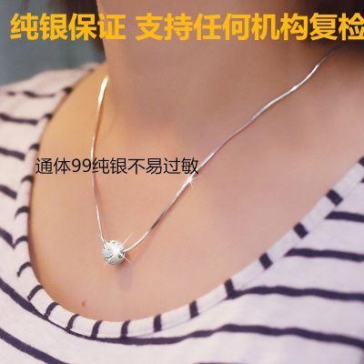 S990纯银项链女锁骨链路路通转运珠蛇骨链日韩潮流学生精品礼物