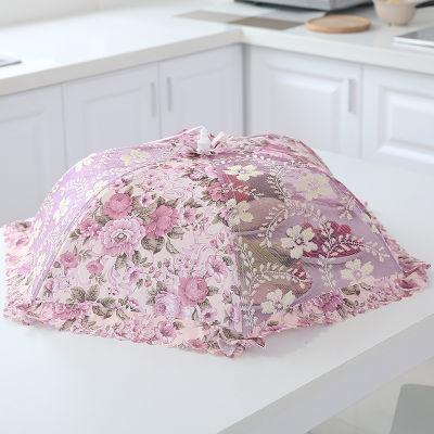 包�]加密大�折�B�A形�L方餐桌罩�菜罩子防�n��w菜罩食物罩菜��