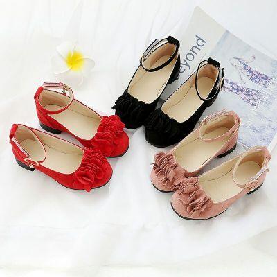 女童鞋子单鞋小学生高跟鞋女水晶鞋儿童凉韩版平底新款小跟鞋雨伞