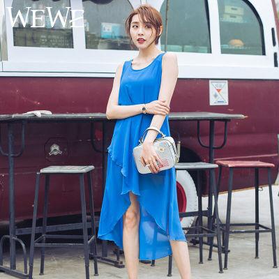 wewe女式夏季透气连衣裙半透黑色连衣裙半透蓝色连衣裙长款连衣裙