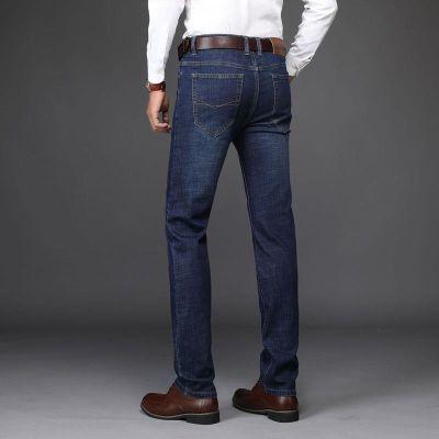 201秋季新款MUZHILEE男士牛仔裤 弹力直筒修身 中年蓝色休闲长裤