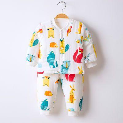 婴幼儿秋冬季棉衣套装男女宝宝衣服秋冬装纱布儿童薄棉服棉袄