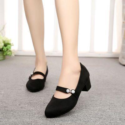 老北京布鞋2018春新款女瓢鞋时尚中跟粗跟黑色酒店工作鞋玛丽珍鞋