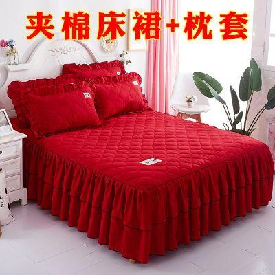 【夹棉床裙三件套】韩版公主风【床裙单件+枕套】加厚磨毛床罩套