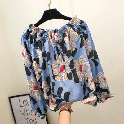 秋装新款韩版花朵甜美一字肩喇叭袖长袖衬衫女宽松时尚小衫娃娃衫