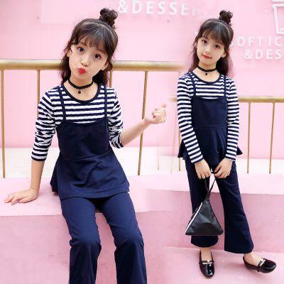 2018春秋新款女童纯棉套装时尚韩版小女孩长袖喇叭裤休闲两件套潮