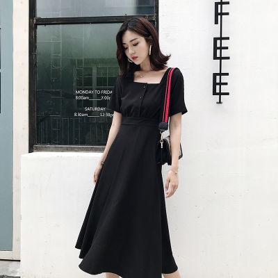 冷淡风赫本小黑裙女装2018夏季新款修身显瘦黑色连衣裙气质中长裙