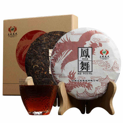 土林凤凰 凤舞普洱茶熟茶2017年无量山古树茶云南七子饼茶叶160克