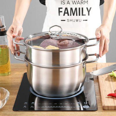 加厚不锈钢汤锅蒸锅熬汤锅小火锅家用双耳煮锅燃气奶锅电磁炉专用
