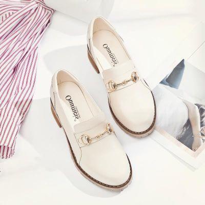 傲麦网红鞋子女2018新款韩版单鞋粗跟仙女鞋夏乐福鞋英伦小皮鞋秋