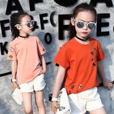 儿童夏装4-12岁短袖t恤夏季8女童小学生9中童7纯棉10上衣小孩�B血