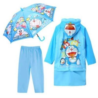 儿童雨衣女孩幼儿园男孩机器猫全身防水雨水雨披雨裤雨鞋套装时尚
