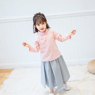 女童民国风套装儿童汉服2018新款秋装改良小孩长袖中国风复古童装