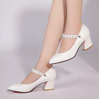 RD红蜻蜓中跟单鞋女粗跟尖头浅口一字扣大码工作鞋女鞋一鞋三穿