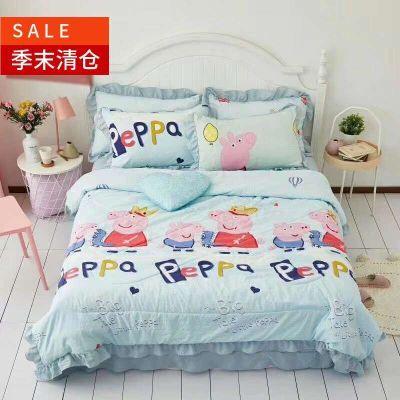 卡通佩琪小猪夏被四件套水洗棉韩版夏凉被+床单+枕套网红全棉纯棉