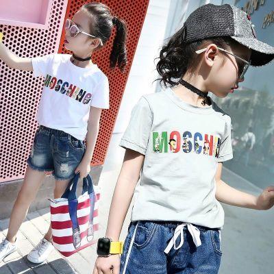 小女孩5夏季6短袖7T恤8字母910上衣12岁中大儿童小学生打底衫