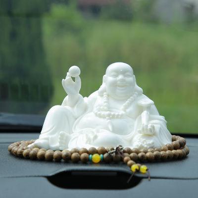 精品陶瓷白瓷弥勒佛像汽车摆件车载保平安掌柜推荐新款清仓送礼