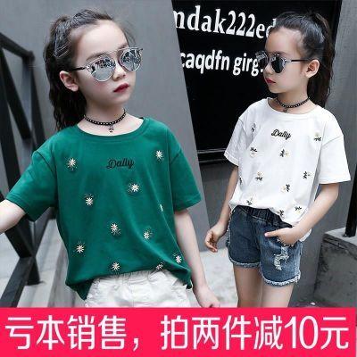 10岁8儿童装短袖T恤夏季女童夏装白色小学生中童韩版上衣女孩�B血