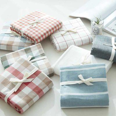 全棉床单床笠单件 夏季水洗棉粗布单人双人格子被单简约纯棉床品