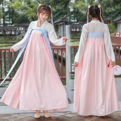 传统汉服女装古装学生齐胸襦裙花朵刺绣春夏秋装日常改良汉服襦裙