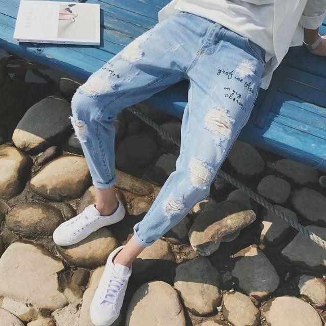 新潮韩版破洞牛仔裤男九分小脚裤男士春夏乞丐裤男9分破洞裤男