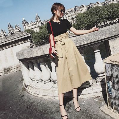 夏季2018新款网红时尚两件套装女神范裤子高腰阔腿裤显瘦套装女装