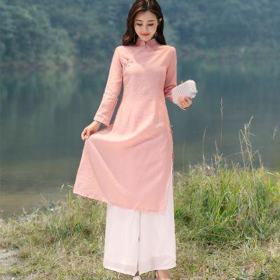 改良文艺棉麻连衣裙中长款两件套套装中国风女装禅意茶人服旗袍秋