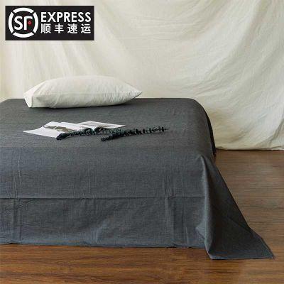 水洗棉日式单件床单全棉亲肤纯棉良品单双人素色简约纯棉床单床笠