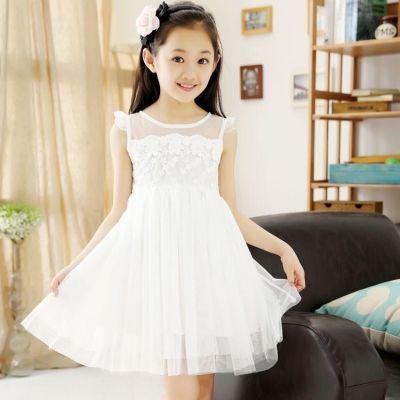 女童连衣裙新款2018夏装中大童装韩版儿童夏季洋气公主白色纱裙子