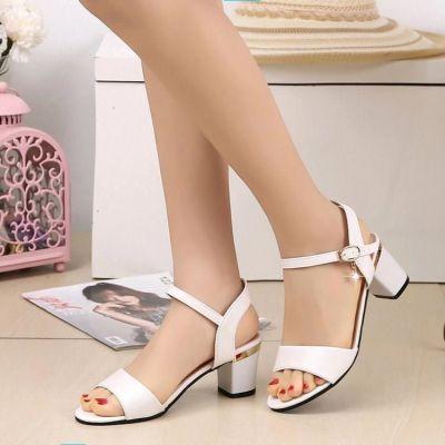凉鞋女夏季2018新款百搭时尚粗跟露趾中跟一字扣带韩版中年女鞋子