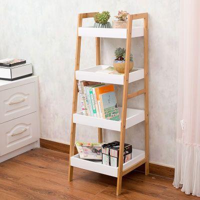 客厅阳台宜家置物架落地多层收纳架卧室简易书架梯形架子特价木质
