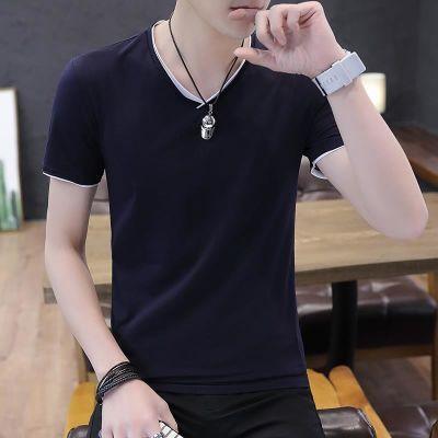 男子夏季短袖T恤鸡心领男生修身纯棉t恤学生紧身半袖男孩帅气体恤
