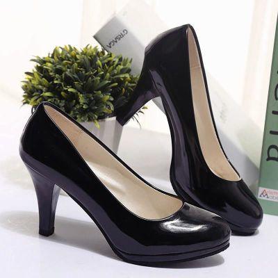 春秋中跟黑色圆头高跟鞋女鞋防水台细跟职业正装单鞋淑女漆皮鞋子