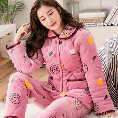 【反季促销】夹棉睡衣女大码三层加厚法兰绒珊瑚绒保暖家居服套装